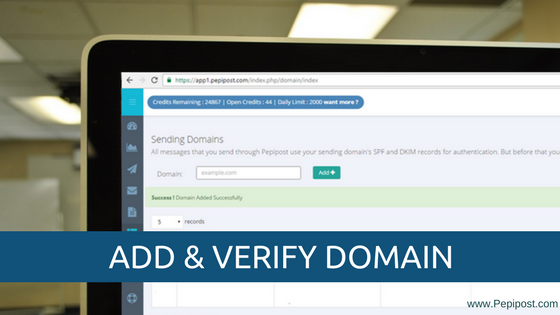 add and verify domain