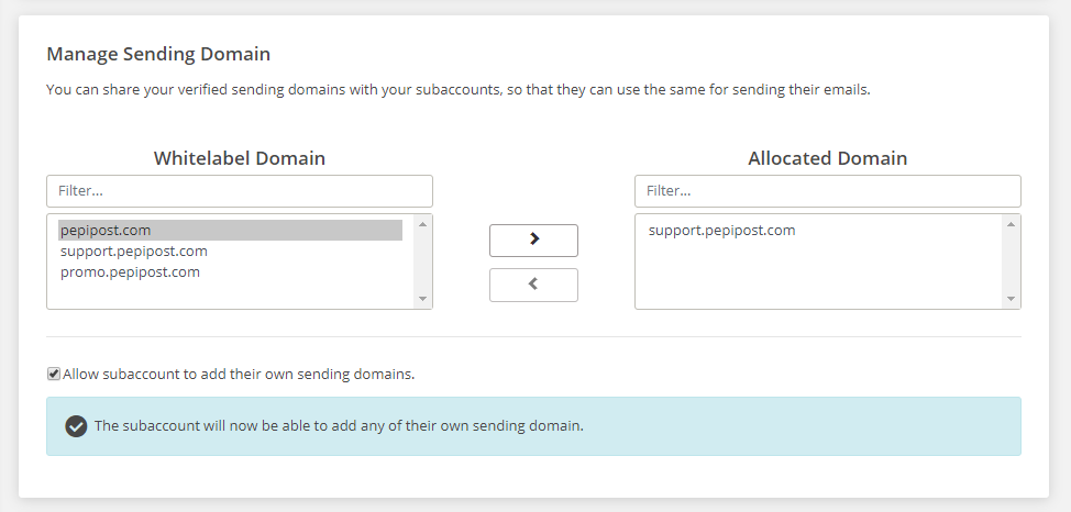 manage sending domains
