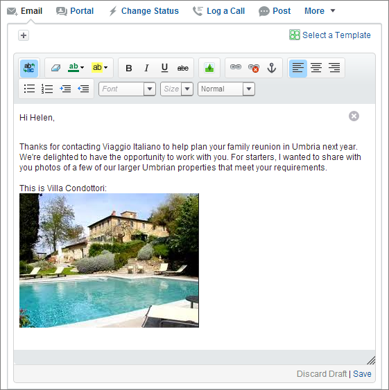 embed image into email through a standard HTML tag